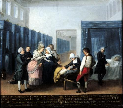The Visit of Monsieur and Madame Necker to the Hopital de la Charite 1780 by French School