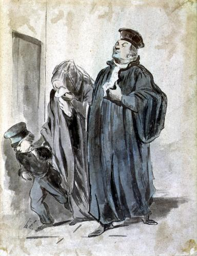 Judge Woman and Child by Honoré-Victorin Daumier