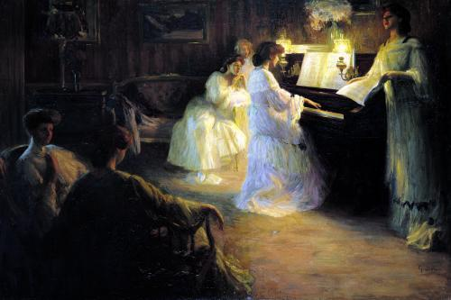 Young Girls at a Piano 1906 by Gabriel Deluc