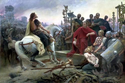 Vercingetorix throws down his arms at the feet of Julius Caesar 1899 by Lionel Noel Royer