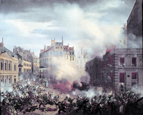 The Burning of the Chateau d'Eau at the Palais-Royal 1848 by Eugene Hagnauer