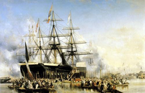 King Louis-Philippe Disembarking at Portsmouth 1846 by Louis Eugene Gabriel Isabey