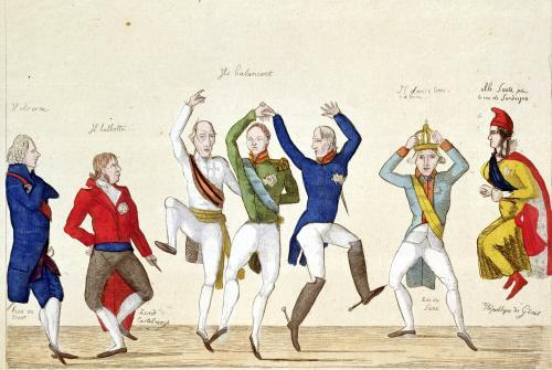 Satirical cartoon depicting the key protagonists in a dance at the Congress of Vienna in 1815 by French School