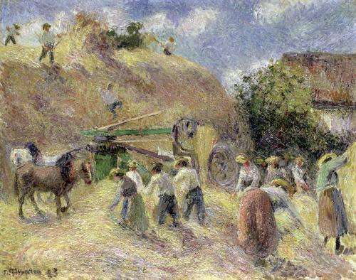 The Harvest 1883 by Camille Pissarro