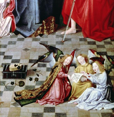 The Seven Joys of the Virgin Altarpiece' detail of three singing angels c.1480 by Master of the Holy Parent