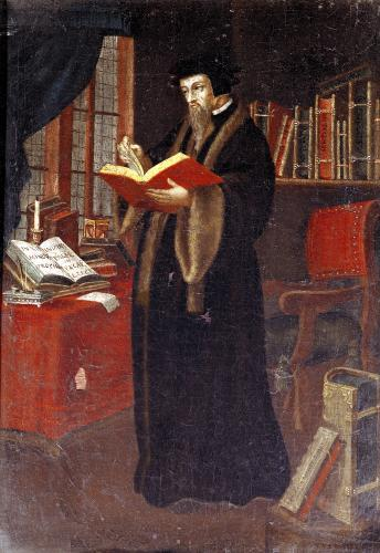 Portrait of John Calvin French theologian and reformer by French School