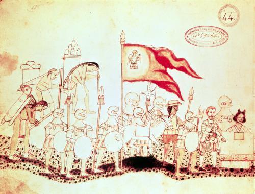 Cortes with the Moorish soldier Estevanico c.1550 by Mexican School
