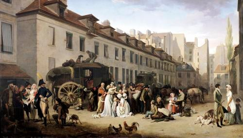 The Arrival of a Stagecoach at the Terminus Paris 1803 by Louis-Leopold Boilly