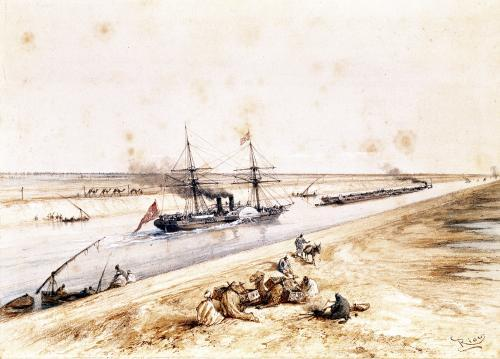 A Turkish Paddle Steamer Going Up the Suez Canal by Edouard Riou