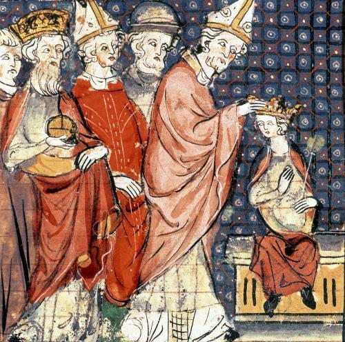 The coronation of Louis I Holy Roman Emperor by Pope Stephen IV by French School