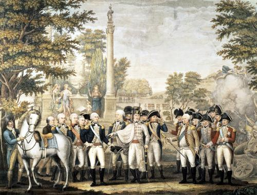 The British Surrendering to General Washington after their Defeat at Yorktown 1781 by American School
