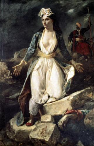 Greece expiring on the Ruins of Missolonghi 1852 by Eugene Delacroix