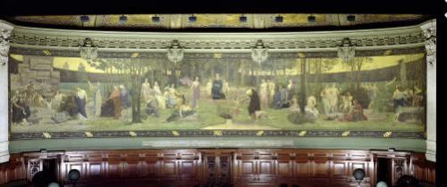 The Sacred Wood mural in the Grand Amphitheatre by Pierre Puvis de Chavannes