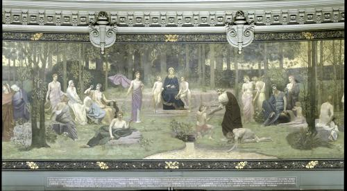 The Sacred Wood allegorical mural in the Grand Amphitheatre by Pierre Puvis de Chavannes