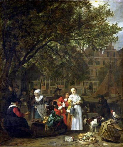 A Herb Market in Amsterdam by Gabriel Metsu