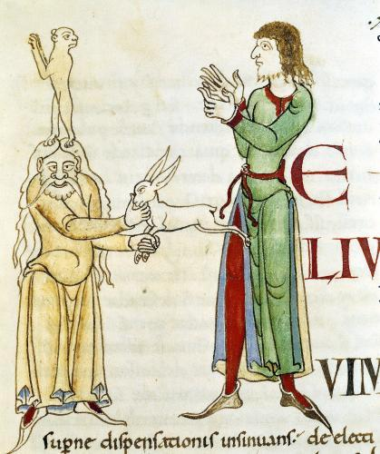 Initial 'H' in the form of two conjurors from Citeaux Abbey by French School