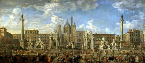Preparation For the Firework Display Held at Piazza Navona Rome by Giovanni Paolo Panini