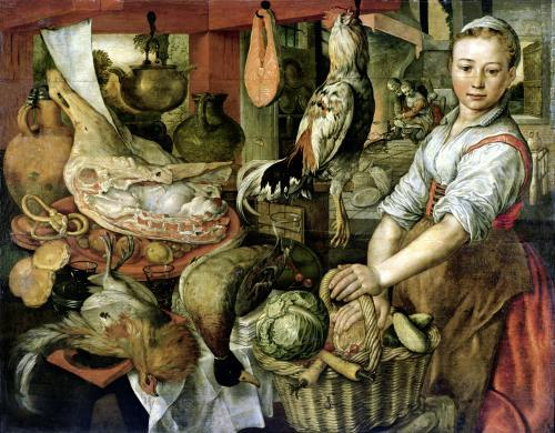 Kitchen Interior 1566 by Joachim Beuckelaer