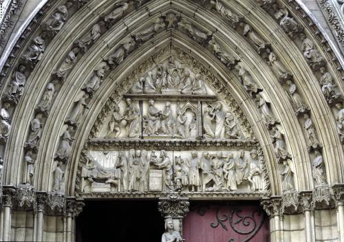 North transept portal scenes from The Infancy of Christ and the Story of Theophilus 1250 by French School