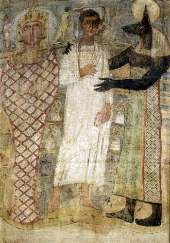 The deceased and his mummy protected by Anubis by Coptic