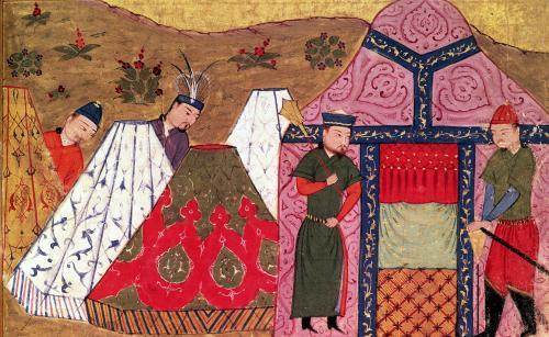 Genghis Khan outside his tent by Anonymous