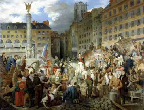 The Duke of Orleans Crossing the Place du Chatelet 1830 by Prosper Lafait