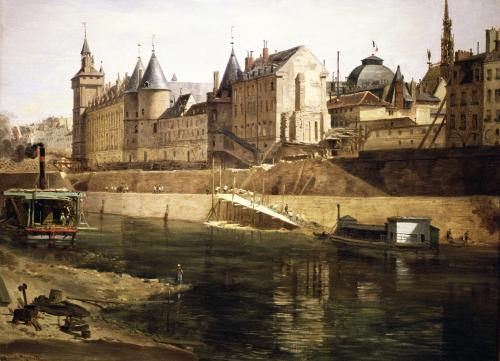 The Palais de Justice the Conciergerie and the Tour de l'Horloge by Adrien Dauzats