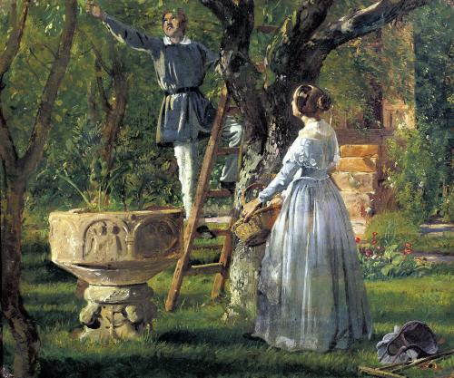 Garden in Ringsted with a Ancient Baptismal Font 1850 by Jorgan Roed