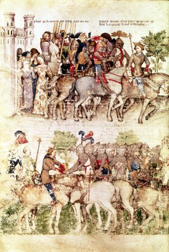 Arthur and his knights setting out on the quest for the Holy Grail by Italian School