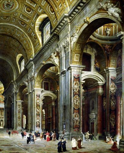 Cardinal Melchior de Polignac Visiting St. Peter's in Rome by Giovanni Paolo Panini