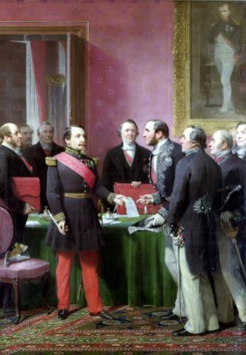 Napoleon III Hands Over The Decree allowing the Annexation of the Suburban Communes by Adolphe Yvon
