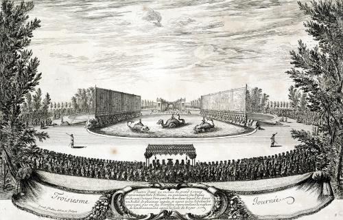 Stage on the Large Pond representing the Isle of Alcine 1664 by Israel Silvestre the Younger