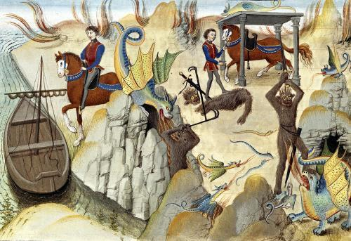 Maugis Fighting the Serpent and Gaining the Enchanted Horse by Loyset Liedet