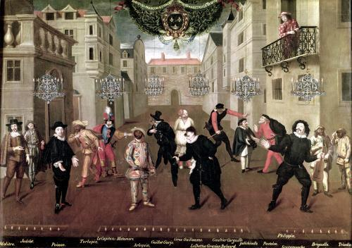 Italian and French Comedians Playing in Farces 1670 by Verio
