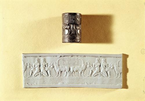 Akkadian cylinder seal and impression of Shar-kali-sharri by Mesopotamian Art
