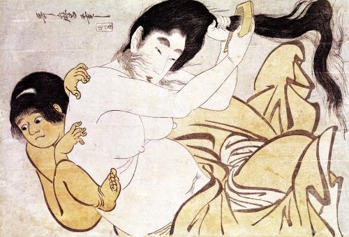 Yama-Uba the Woman of the Mountain with Kintoki her Baby by Kitagawa Utamaro