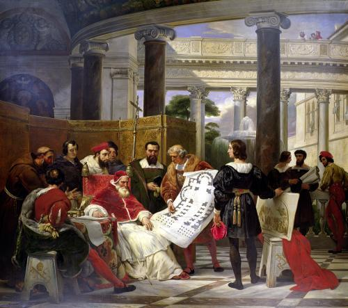 Pope Julius II ordering Bramante Michelangelo & Raphael to construct the Vatican & St. Peter's by Emile Jean Horace Vernet