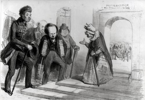 Dumas Hugo et Balzac seeking their admission to the French Academy by Benjamin Roubaud