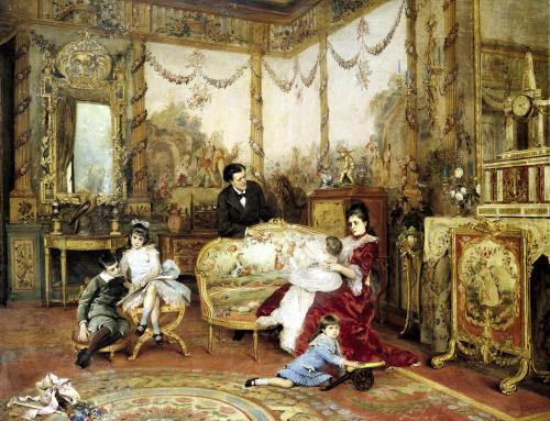 Victorien Sardou and his Family in their Drawing Room c.1875 by Auguste de la Brely
