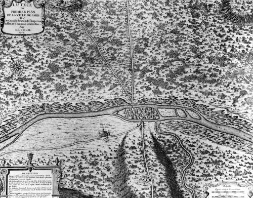 Lutetia or the first plan of Paris 1705 by French School
