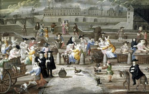 Bread and Poultry Market on Quai des Grands Augustins by French School