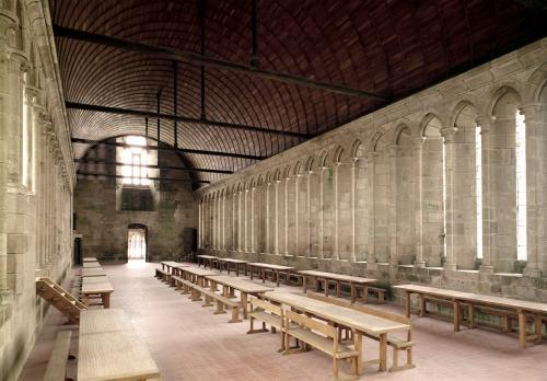 The Monks's Refectory interior view of the Abbey 1217 by French School