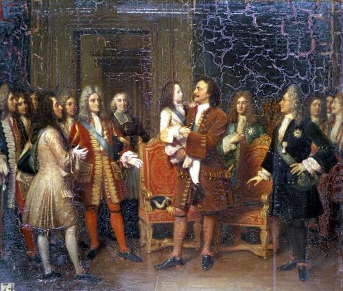 Louis XV Visiting Peter I the Great at l'Hotel de Lesdiguieres 1717 by Louise Marie Jeanne Hersent