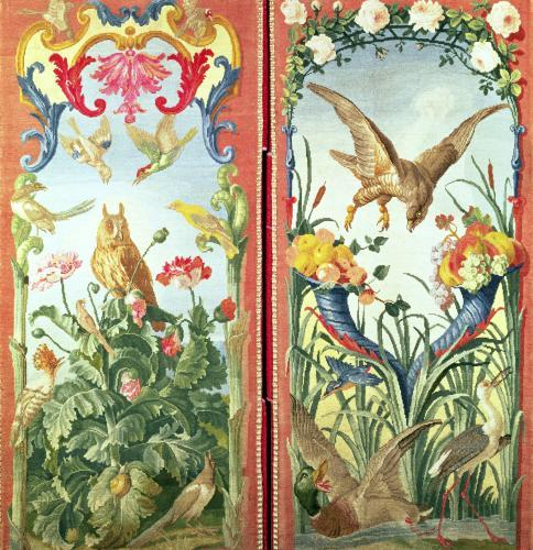 Two panels of carpet made into a folding screen by French School