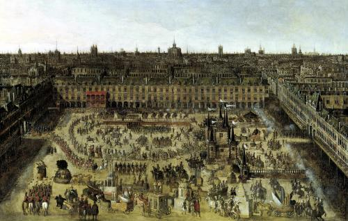 The Place Royale and the Carrousel in 1612 by French School