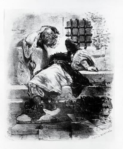 The Man in the Iron Mask in his Prison by Celestin Francois Nanteuil