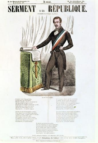 Illustrated lyric sheet for 'Serment a la Republique' c.1848 by French School