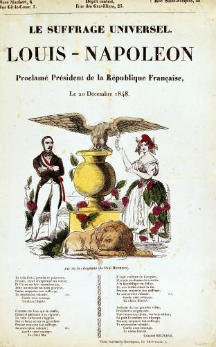 Illustrated lyric sheet for 'Le Suffrage Universel' 1848 by French School