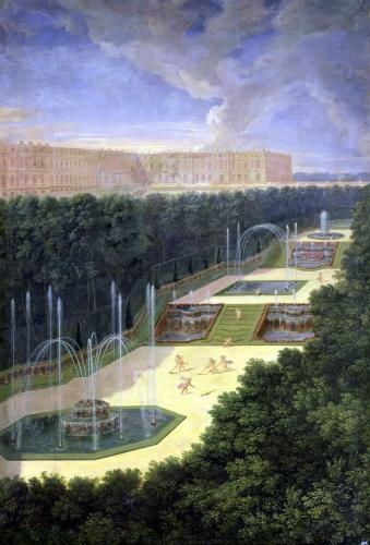 The Groves of Versailles Perspective View of the Three Fountains 1688 by Jean Cotelle the Younger