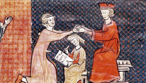 The Royal Prosecutor the Scribe and the Feudal Lord 1292 by Catalan School